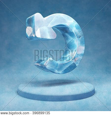 Undo Icon. Cracked Blue Ice Undo Symbol On Blue Snow Podium. Social Media Icon For Website, Presenta
