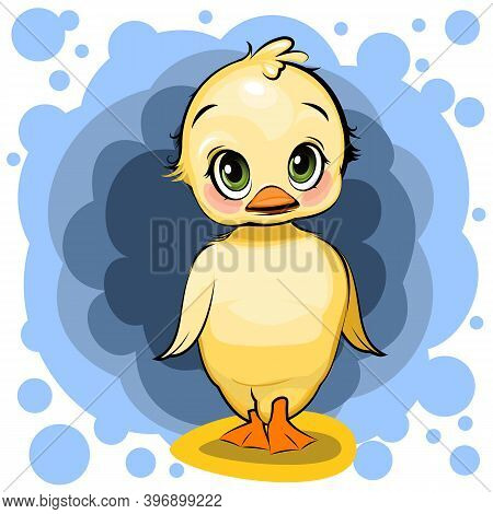 Duckling Girl. Funny Chick. Cute And Funny Baby Bird. The Isolated Object On A White Background. Ill