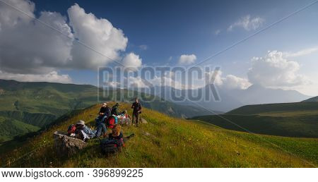 Georgia, Racha - August 17, 2013: A Group Of Travelers Travels In Georgia, In The Mountains Of Racha