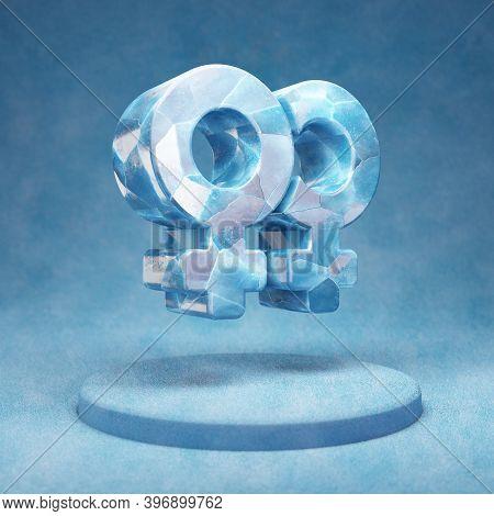 Venus Double Icon. Cracked Blue Ice Venus Double Symbol On Blue Snow Podium. Social Media Icon For W