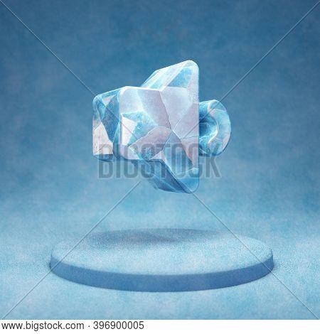 Volume Down Icon. Cracked Blue Ice Volume Down Symbol On Blue Snow Podium. Social Media Icon For Web