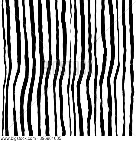 Wavy Lines Grunge Vector Seamless Pattern. Vertical Strokes, Stripes And Waves. Curly Ink Brush Stro