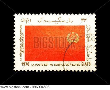 Afghanistan - Circa 1978 : Cancelled Postage Stamp Printed By Afghanistan, That Shows  Red Flag With