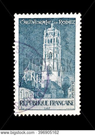 France - Circa 1967 : Cancelled Postage Stamp Printed By France, That Shows Rodez Cathedral , Circa