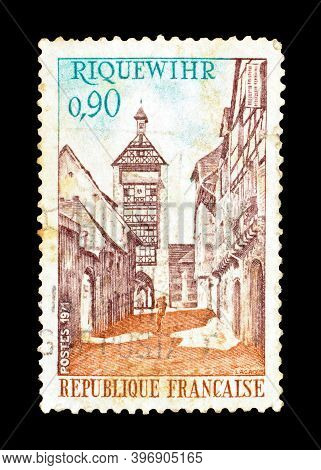 France - Circa 1971 : Cancelled Postage Stamp Printed By France, That Shows Riquewihr, Circa 1971.