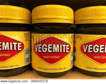 Oakland, Ca - Nov 12, 2020: Grocery Store Shelf With Jars Of Vegemite Brand Yeast Extract, A Thick B