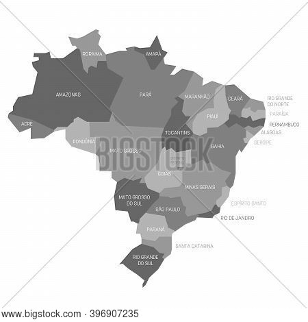 Gray Political Map Of Brazil. Administrative Divisions - States. Simple Flat Vector Map With Labels.