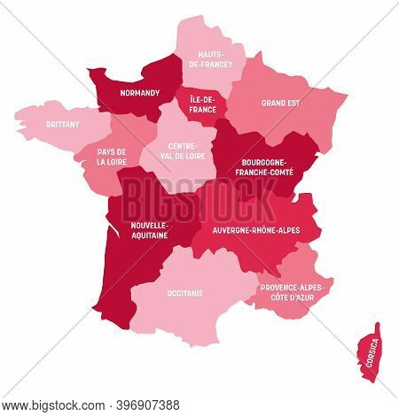 Pink Political Map Of France. Administrative Divisions - Metropolitan Regions. Simple Flat Vector Ma