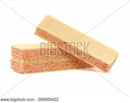 Wafers With Strawberry Filling Isolated On White