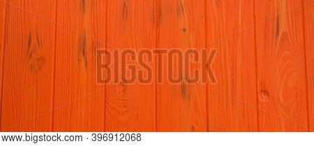 Painted Old Wooden Wall. Orange Background Wood Orange Plank Background