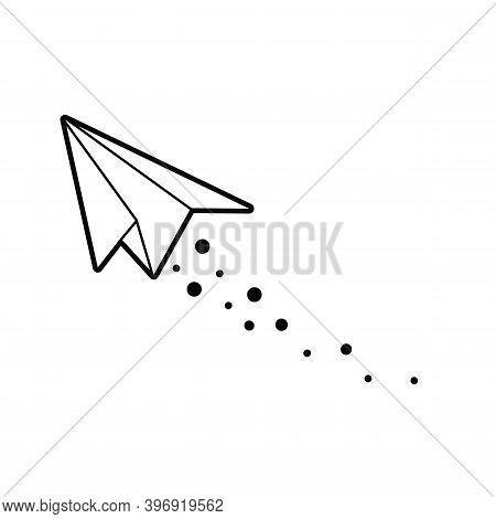 Flying Paper Airplane.  Line Art Icon Vector.  Technology Concept, Children's Toy Illustration, Airp