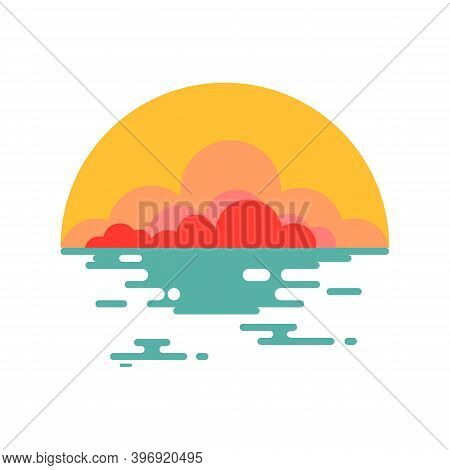 The Yellow Twilight Sky At The End Of The Sea Is Sparkling Blue Gold. Sunset Symbol And Illustration