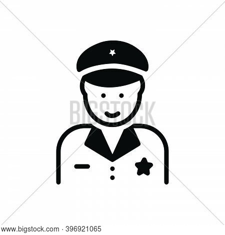 Black Solid Icon For Police The-law Force Guard Secure Enforcer Policeman Cop Protect Security Safet
