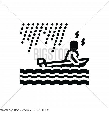 Black Solid Icon For Somehow In-some-way In-some-manner River Boating Wave Raindrops Rainstorm