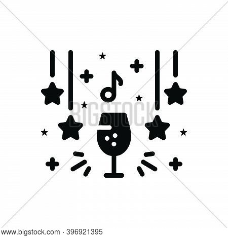 Black Solid Icon For Club Party Wine Decorated Beverage Enjoy Delight Enjoyment Happy Celebrate Even