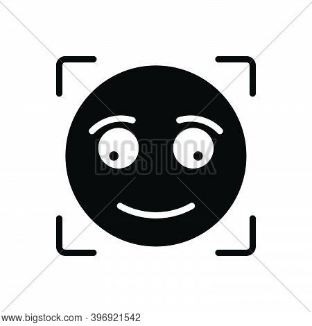 Black Solid Icon For Briefly Concisely Glance Glimpse Scintilla Emoji Shape Sign Smile