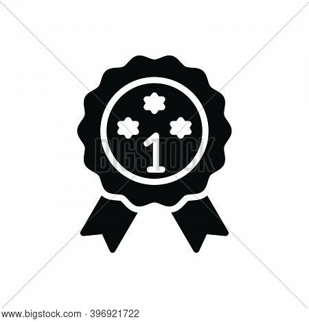 Black Solid Icon For Prime Heyday Best First Premium Quality Ribbon Award Achieve Champion Prize Cer