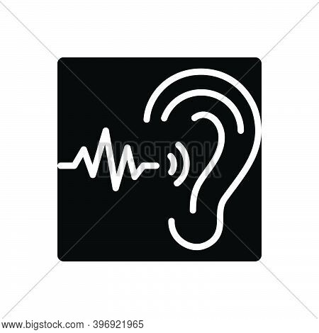 Black Solid Icon For Frequent Ear Sound Frequency Repeat Continual Always Regular Steady Communicati