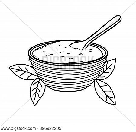 Matcha Tea Powder In A Bowl With A Spoon On A White Background. Vector Illustration . Icon. Outline.