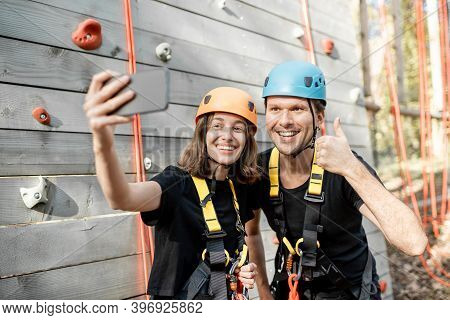 Friends In Protective Sports Equipment Taking A Selfie Photo Together, Climbers Feeling Happy In The