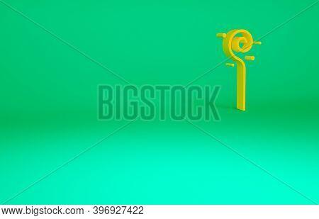 Orange Magic Staff Icon Isolated On Green Background. Magic Wand, Scepter, Stick, Rod. Minimalism Co