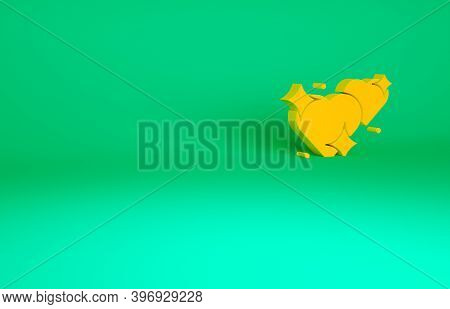 Orange Two Linked Hearts Icon Isolated On Green Background. Romantic Symbol Linked, Join, Passion An