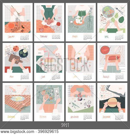 Monthly Food Calendar For 2021. Beautiful Food By Month Concept. Woman In The Kitchen