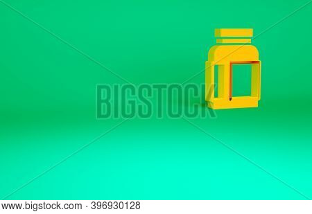 Orange Sports Nutrition Bodybuilding Proteine Power Drink And Food Icon Isolated On Green Background
