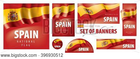 Vector Set Of Banners With The National Flag Of The Spain