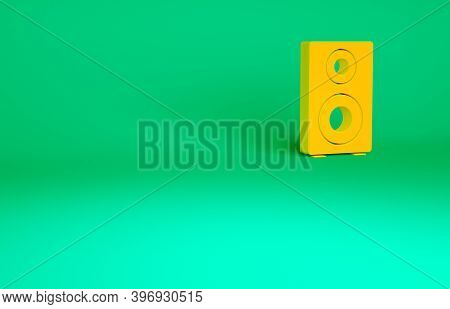 Orange Stereo Speaker Icon Isolated On Green Background. Sound System Speakers. Music Icon. Musical