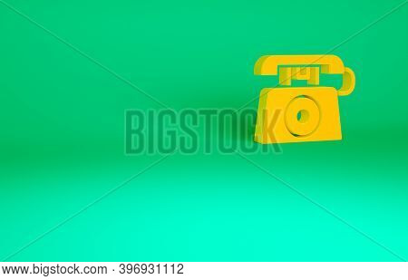 Orange Telephone With Emergency Call 911 Icon Isolated On Green Background. Police, Ambulance, Fire