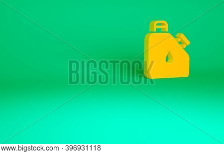 Orange Canister For Flammable Liquids Icon Isolated On Green Background. Oil Or Biofuel, Explosive C