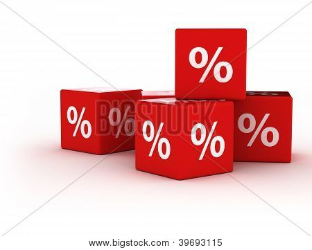 Percent symbol on 3d cubes