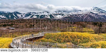 Hokkaido, Japan - May 06 2019 : Shiretoko Goko Five Lakes In Shiretoko National Park. Rolling Mounta