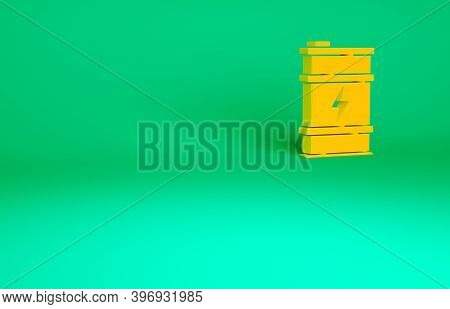 Orange Bio Fuel Barrel Icon Isolated On Green Background. Eco Bio And Canister. Green Environment An