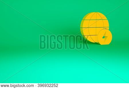 Orange Global Energy Power Planet With Flash Thunderbolt Icon Isolated On Green Background. Ecology