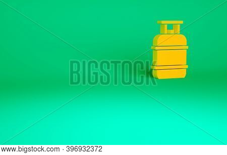 Orange Propane Gas Tank Icon Isolated On Green Background. Flammable Gas Tank Icon. Minimalism Conce