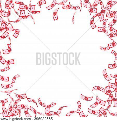 British Pound Notes Falling. Sparse Gbp Bills On White Background. United Kingdom Money. Authentic V