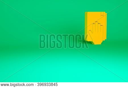 Orange Oath On The Holy Bible Icon Isolated On Green Background. The Procedure In Court. Truth And T