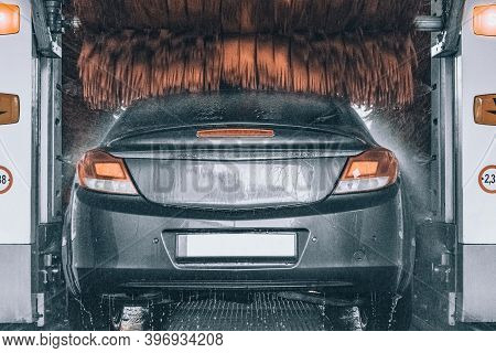 Foam Water Clean Auto Car On Carwash Hand Service. Vehicle Wash Soap, Foam On Cleaner Station.