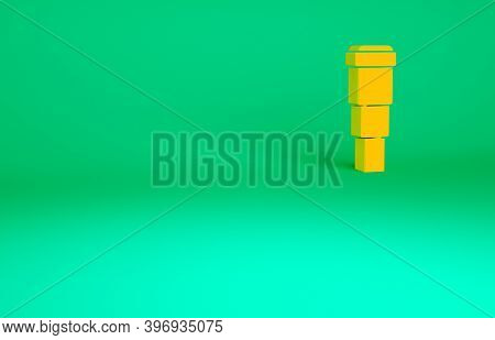Orange Spyglass Telescope Lens Icon Isolated On Green Background. Sailor Spyglass. Minimalism Concep