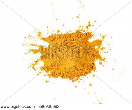 Dry Turmeric Powder Or Curcuma Longa Linn Isolated On White Background.