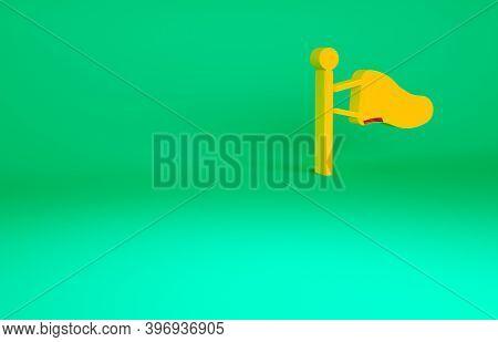 Orange Cone Meteorology Windsock Wind Vane Icon Isolated On Green Background. Windsock Indicate The