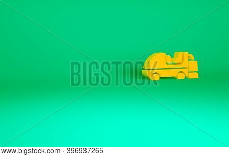 Orange Ice Resurfacer Icon Isolated On Green Background. Ice Resurfacing Machine On Rink. Cleaner Fo