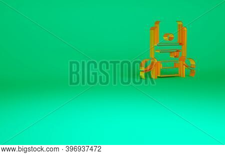 Orange Hiking Backpack Icon Isolated On Green Background. Camping And Mountain Exploring Backpack. M