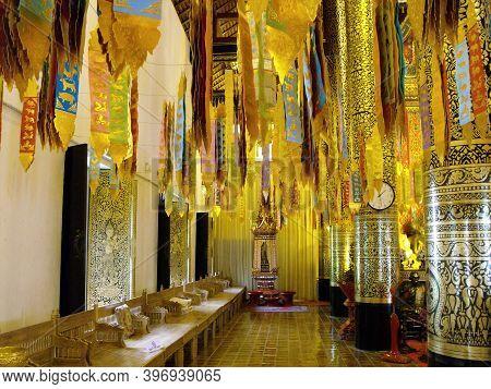 Chiang Mai, Thailand, April 25, 2016: Side Of Wat Intakhin Pillar Vihara Temple In Chiang Mai