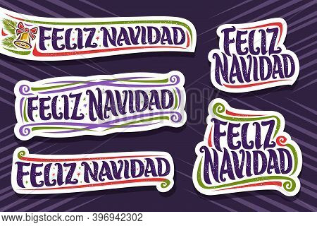 Vector Set For Merry Christmas In Spanish Language, 5 Cut Paper Logos With Spanish Text - Feliz Navi