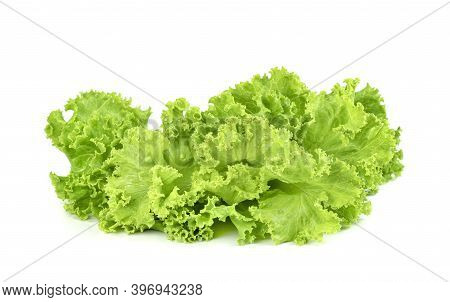 Lettuce Leaf Isolated On White Background ,green Leaves Pattern ,salad Ingredient