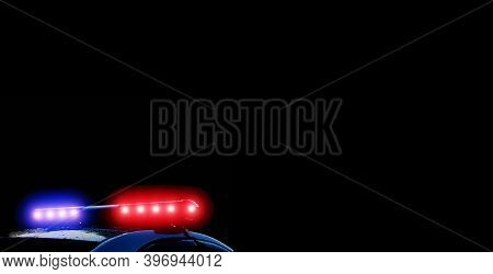 Strobelight Bar, Red And Blue Lights Of Police Car. Scene Of An Accident Or Crime. Police Patrol Ban