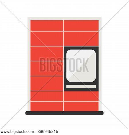 Red Parcel Station, Parcel Locker, Postamat Vector Illustration For Noncontact Delivery Design.